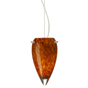 Juli Satin Nickel One-Light Incandescent 120v Mini Pendant with Dome Canopy, Cable, and Amber Cloud Glass