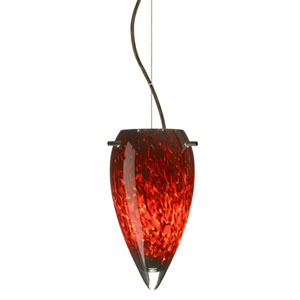 Juli Bronze One-Light Incandescent 120v Mini Pendant with Dome Canopy, Cable, and Garnet Glass