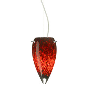 Juli Satin Nickel One-Light Incandescent 120v Mini Pendant with Dome Canopy, Cable, and Garnet Glass