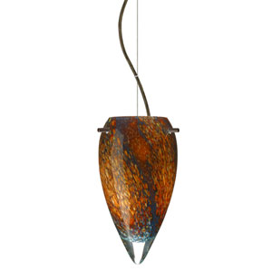 Juli Bronze One-Light Incandescent 120v Mini Pendant with Dome Canopy, Cable, and Ceylon Glass