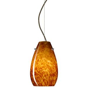 Pera Bronze One-Light Incandescent 120v Mini Pendant with Dome Canopy, Cable, and Amber Cloud Glass