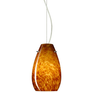 Pera Satin Nickel One-Light Incandescent 120v Mini Pendant with Dome Canopy, Cable, and Amber Cloud Glass