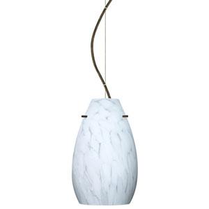 Pera Bronze One-Light Incandescent 120v Mini Pendant with Dome Canopy, Cable, and Carrera Glass