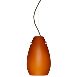 Pera Bronze One-Light Incandescent 120v Mini Pendant with Dome Canopy, Cable, and Amber Matte Glass