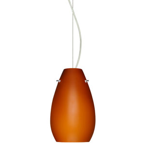 Pera Satin Nickel One-Light Incandescent 120v Mini Pendant with Dome Canopy, Cable, and Amber Matte Glass