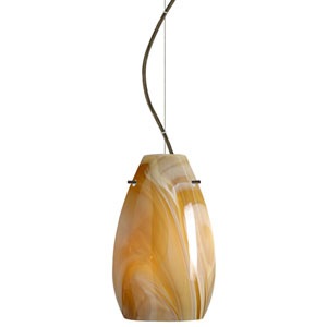 Pera Bronze One-Light Incandescent 120v Mini Pendant with Dome Canopy, Cable, and Honey Glass