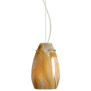 Pera Satin Nickel One-Light Incandescent 120v Mini Pendant with Dome Canopy, Cable, and Honey Glass