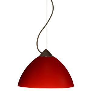Tessa Bronze One-Light Incandescent 120v Mini Pendant with Dome Canopy, Cable, and Red Matte Glass
