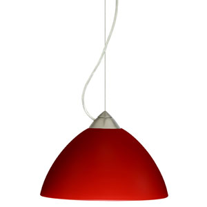 Tessa Satin Nickel One-Light Incandescent 120v Mini Pendant with Dome Canopy, Cable, and Red Matte Glass