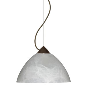 Tessa Bronze One-Light Incandescent 120v Mini Pendant with Dome Canopy, Cable, and Marble Glass