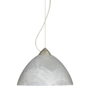 Tessa Satin Nickel One-Light Incandescent 120v Mini Pendant with Dome Canopy, Cable, and Marble Glass