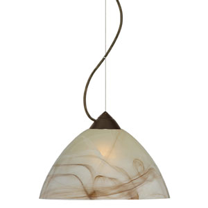 Tessa Bronze One-Light Incandescent 120v Mini Pendant with Dome Canopy, Cable, and Mocha Glass