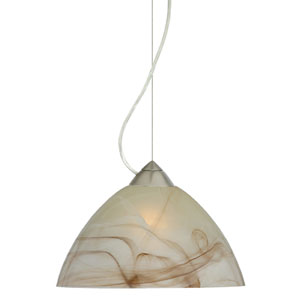 Tessa Satin Nickel One-Light Incandescent 120v Mini Pendant with Dome Canopy, Cable, and Mocha Glass