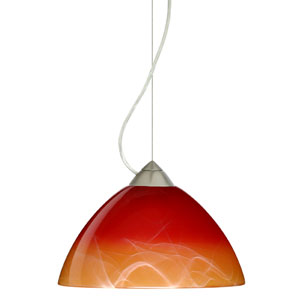 Tessa Satin Nickel One-Light Incandescent 120v Mini Pendant with Dome Canopy, Cable, and Solare Glass