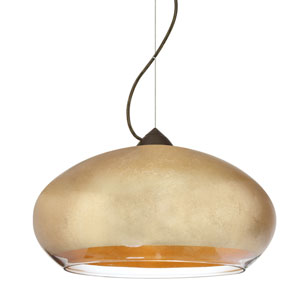 Brio Bronze One-Light Incandescent 120v Mini Pendant with Dome Canopy, Cable, and Gold Foil Glass