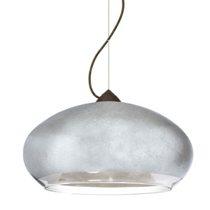 Brio Bronze One-Light Incandescent 120v Mini Pendant with Dome Canopy, Cable, and Silver Foil Glass