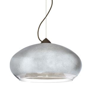 Brio Bronze One-Light Incandescent 120v Mini Pendant with Dome Canopy, Cable, and Silver Foil Glass