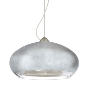 Brio Satin Nickel One-Light Incandescent 120v Mini Pendant with Dome Canopy, Cable, and Silver Foil Glass