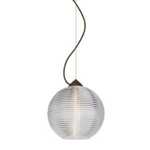 Kristall Bronze One-Light Incandescent 120v Mini Pendant with Dome Canopy, Cable, and Clear Glass