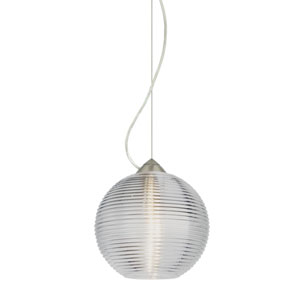 Kristall Satin Nickel One-Light Incandescent 120v Mini Pendant with Dome Canopy, Cable, and Clear Glass