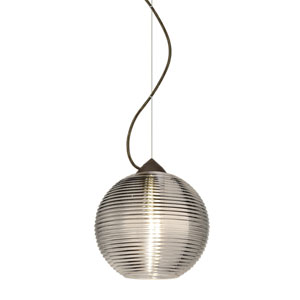 Kristall Bronze One-Light Incandescent 120v Mini Pendant with Dome Canopy, Cable, and Smoke Glass