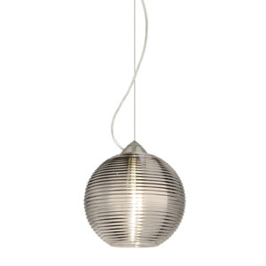 Kristall Satin Nickel One-Light Incandescent 120v Mini Pendant with Dome Canopy, Cable, and Smoke Glass