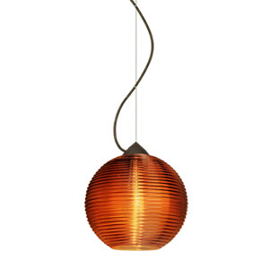 Kristall Bronze One-Light Incandescent 120v Mini Pendant with Dome Canopy, Cable, and Amber Glass