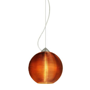 Kristall Satin Nickel One-Light Incandescent 120v Mini Pendant with Dome Canopy, Cable, and Amber Glass
