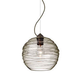 Wave Bronze One-Light Incandescent 120v Mini Pendant with Dome Canopy, Cable, and Smoke Glass