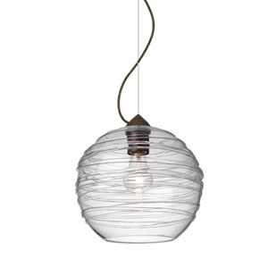 Wave Bronze 10-Inch Wide One-Light KX Incandescent 120v Mini Pendant with Dome Canopy, Cable, and Clear Glass
