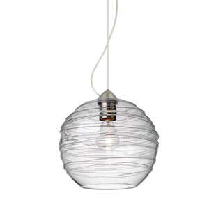 Wave Satin Nickel 10-Inch Wide One-Light KX Incandescent 120v Mini Pendant with Dome Canopy, Cable, and Clear Glass