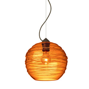 Wave Bronze One-Light Incandescent 120v Mini Pendant with Dome Canopy, Cable, and Amber Glass