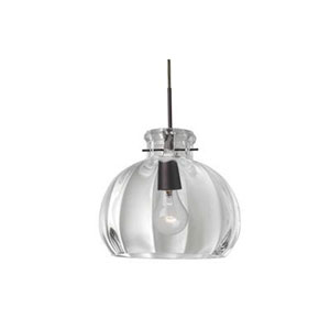 Pinta Bronze 10.25 Wide One-Light Incandescent 120v Mini Pendant with Dome Canopy, Cable, and Clear Glass