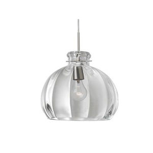 Pinta Satin Nickel 14.25 Wide One-Light KX Incandescent 120v Mini Pendant with Dome Canopy, Cable, and Clear Glass