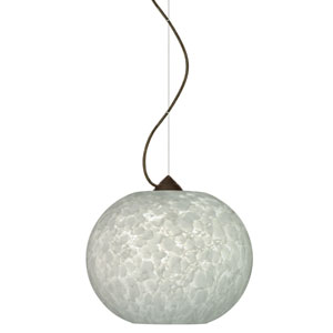 Luna Bronze One-Light Incandescent 120v Mini Pendant with Dome Canopy, Cable, and Carrera Glass