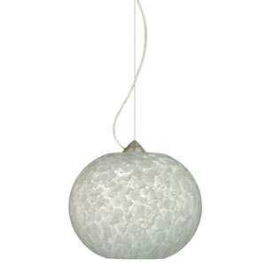 Luna Satin Nickel One-Light Incandescent 120v Mini Pendant with Dome Canopy, Cable, and Carrera Glass