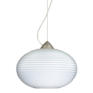Pape Satin Nickel One-Light Incandescent 120v Mini Pendant with Dome Canopy, Cable, and Opal Ribbed Glass