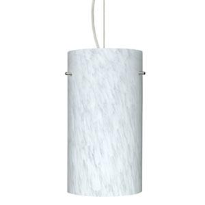 Tondo 12 Satin Nickel One-Light LED Mini Pendant with Carrera Glass