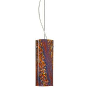 Stilo 10 Satin Nickel One-Light LED Mini Pendant with Ceylon Glass, Dome Canopy