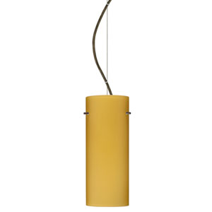 Stilo 10 Bronze One-Light LED Mini Pendant with Vanilla Matte Glass, Dome Canopy