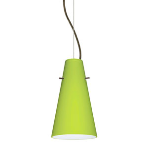 Cierro Bronze 5.One-Light LED Mini Pendant with Chartreuse Glass