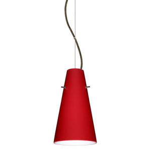 Cierro Bronze 5.One-Light LED Mini Pendant with Ruby Matte Glass