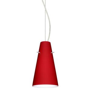 Cierro Satin Nickel 5.One-Light LED Mini Pendant with Ruby Matte Glass