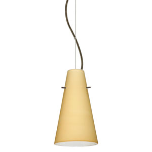 Cierro Bronze 5.One-Light LED Mini Pendant with Vanilla Matte Glass
