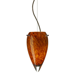 Juli Bronze One-Light LED Mini Pendant with Amber Cloud Glass, Dome Canopy