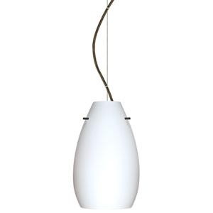 Pera 9 Bronze One-Light LED Mini Pendant with Opal Matte Glass, Dome Canopy