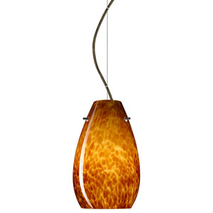 Pera 9 Bronze One-Light LED Mini Pendant with Amber Cloud Glass, Dome Canopy