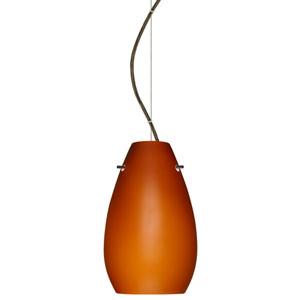 Pera 9 Bronze One-Light LED Mini Pendant with Amber Matte Glass, Dome Canopy
