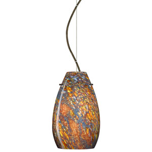 Pera 9 Bronze One-Light LED Mini Pendant with Ceylon Glass, Dome Canopy