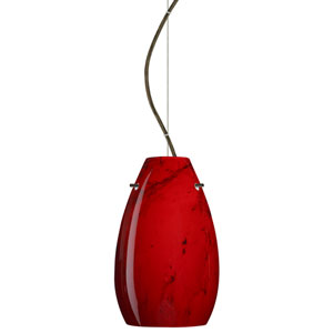 Pera 9 Bronze One-Light LED Mini Pendant with Magma Glass, Dome Canopy